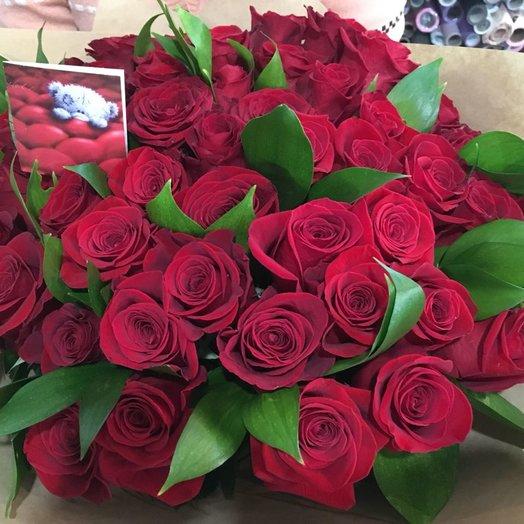 51 эквадорская роза в букете: букеты цветов на заказ Flowwow
