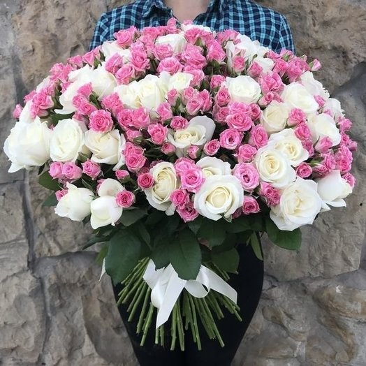 Bouquet of 51 white roses and 50 roses bush roses 101 Total: flowers to order Flowwow