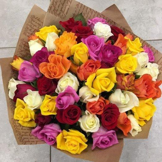 Ассорти из 51 кенийской розы в крафте