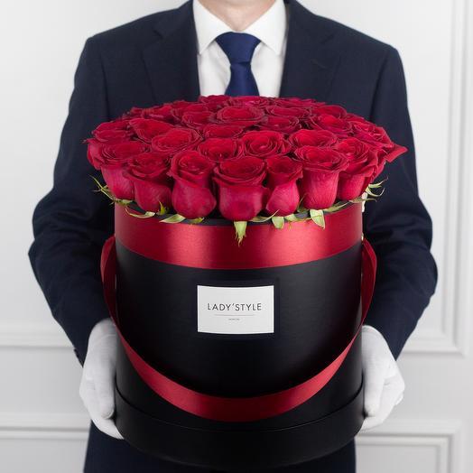 Эквадорские розы в шляпной коробке XL
