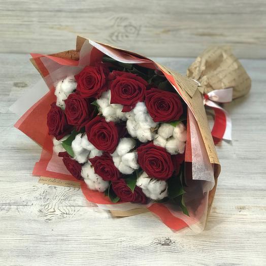 Букет красная роза 50 см  , хлопок. N275: букеты цветов на заказ Flowwow