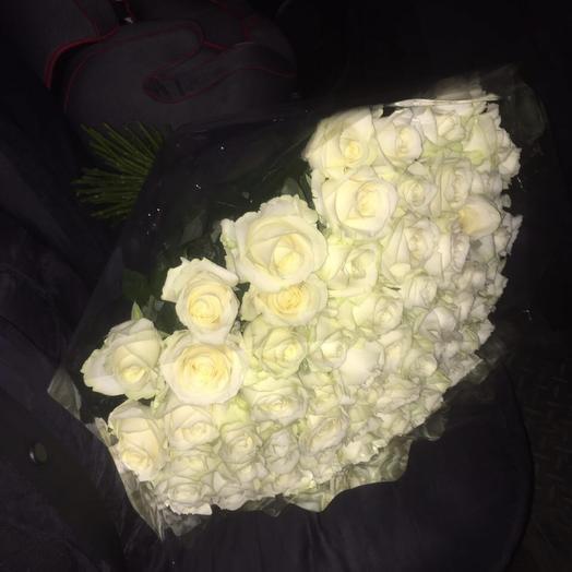 71шт белые розы: букеты цветов на заказ Flowwow