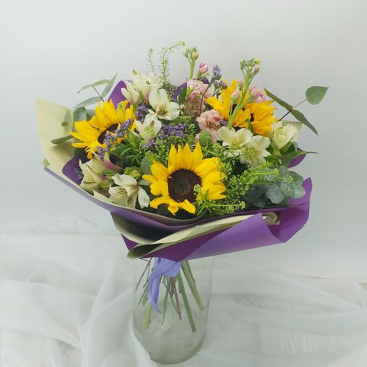 Букет с подсолнухами: букеты цветов на заказ Flowwow