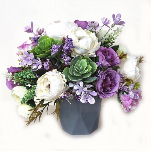 Композиция из искусственных цветов 400666: букеты цветов на заказ Flowwow