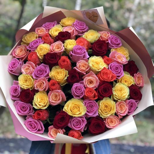 65 роз микс: букеты цветов на заказ Flowwow