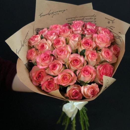 23 розовые розы: букеты цветов на заказ Flowwow