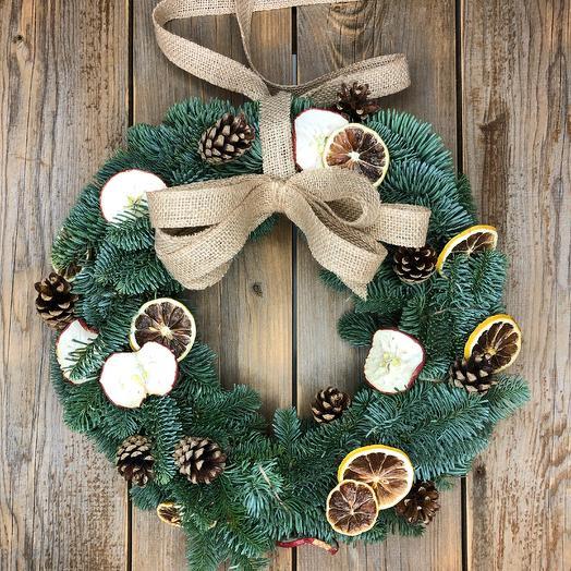 Рождественский венок из нобилиса 1: букеты цветов на заказ Flowwow