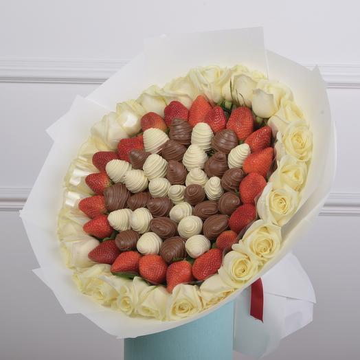 "Букет из клубники ""Салют"" Размер L: букеты цветов на заказ Flowwow"