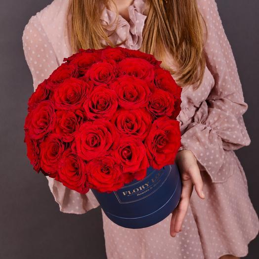 25 красных роз в шляпной коробке (синяя) Flory Love