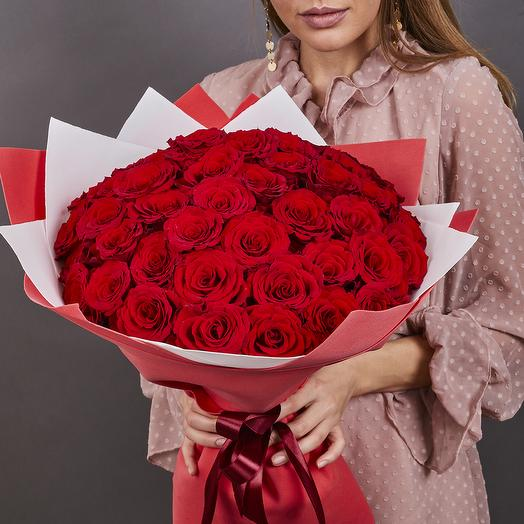 51 роза красная премиум (ваза в подарок, см. условия акции в описании)
