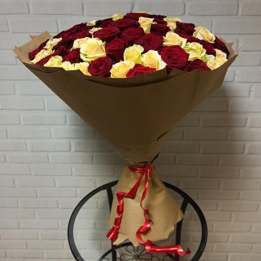 Огромный букет из 101 розы (70 см)