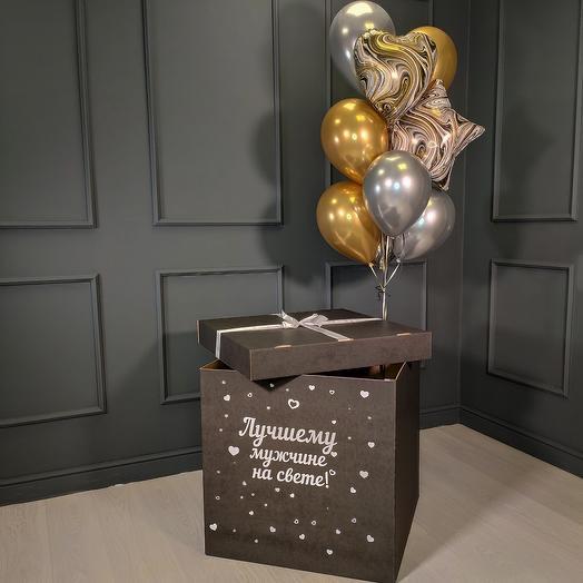 Хромированные золотые и серебряные шарики с мраморными сердцами и звездами в черной коробке
