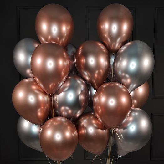 Хромированные серебряные и розовые шарики 20 шт