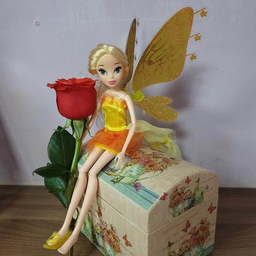 Кукла Фея с живой розой
