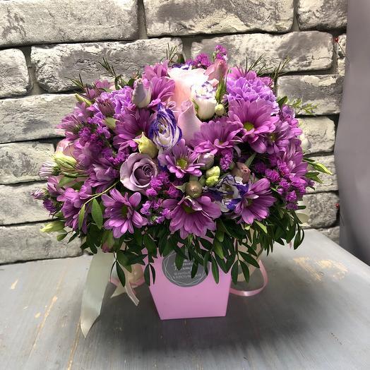 Цветы в коробке «Чгодный щербет»