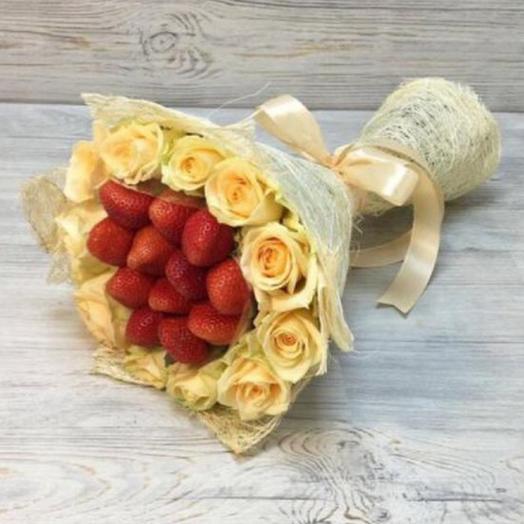 Букет из роз и клубники🍓