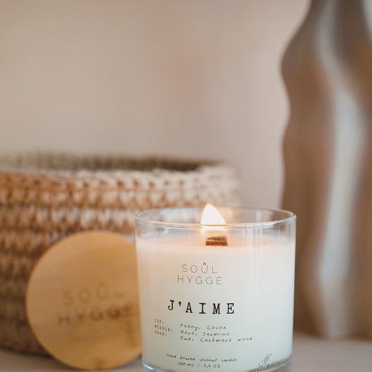 Свеча J AIME 225мл с деревянным фитилём