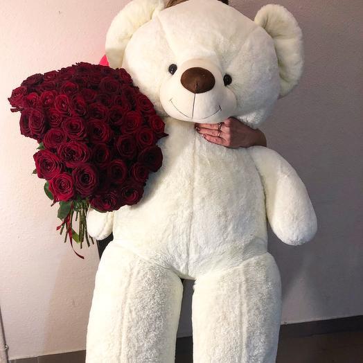 Букет роз и плюшевый медведь 2м