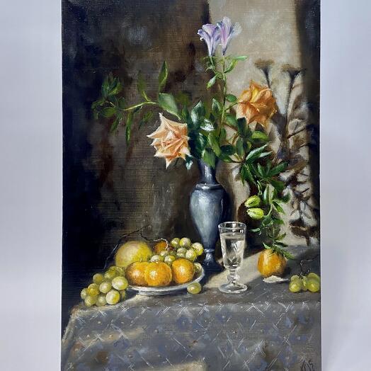 """Картина """"Натюрморт виноград,роза и мандарин"""" 60*40 см. масло, холст"""