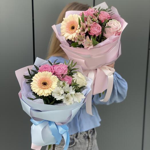 Букет Предвкушение из герберы, роз и эльстромерии