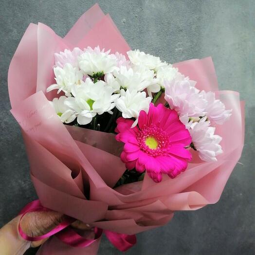 Букет Alice - хризантемы с герберой