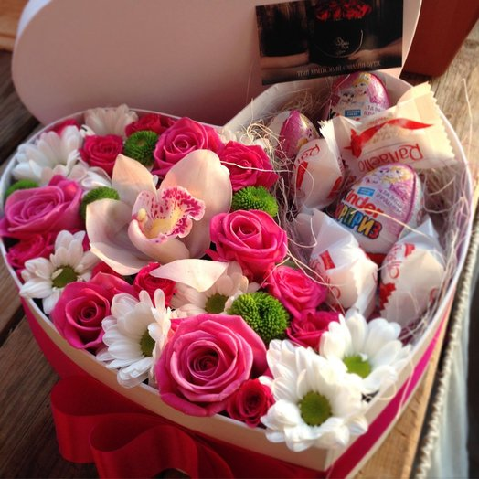 Коробочка сердцем с цветами.