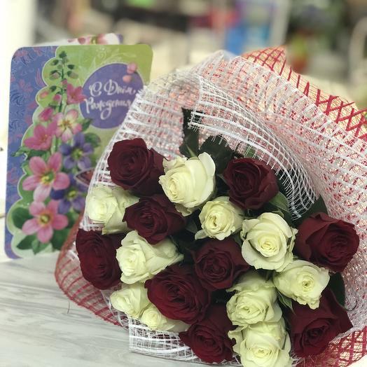19 роз в красивой упаковке