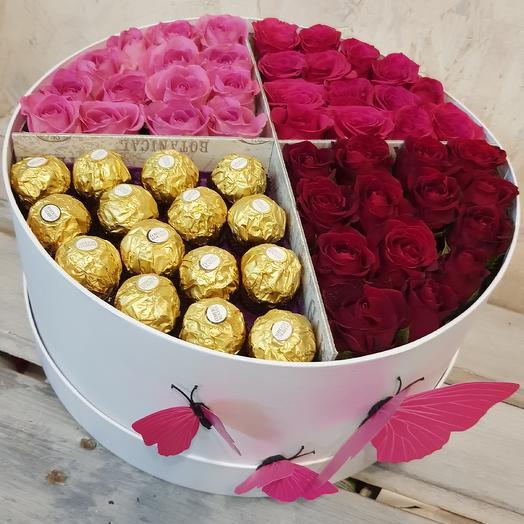 Любимые розы с любимыми конфетами в стильной коробке: букеты цветов на заказ Flowwow