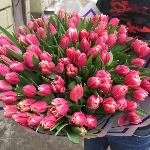 Букет 101 пионовидный тюльпан: букеты цветов на заказ Flowwow
