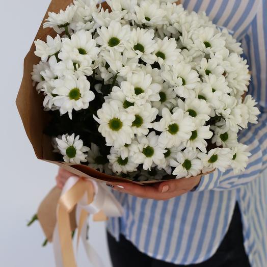 9 хризантем в крафте для учителя: букеты цветов на заказ Flowwow