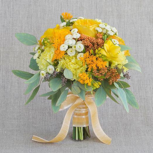 """Круглый букет """"Янтарь"""": букеты цветов на заказ Flowwow"""