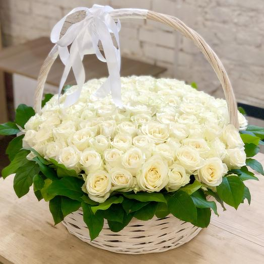 Basket of 101 white roses