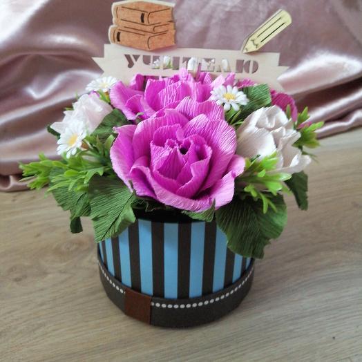 Бумажный мини комплимент из конфет учителю: букеты цветов на заказ Flowwow