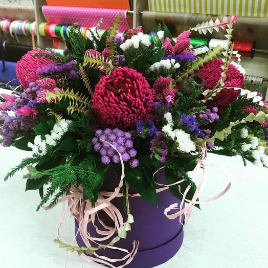 Банксия в шляпной коробке будет стоять годами: букеты цветов на заказ Flowwow
