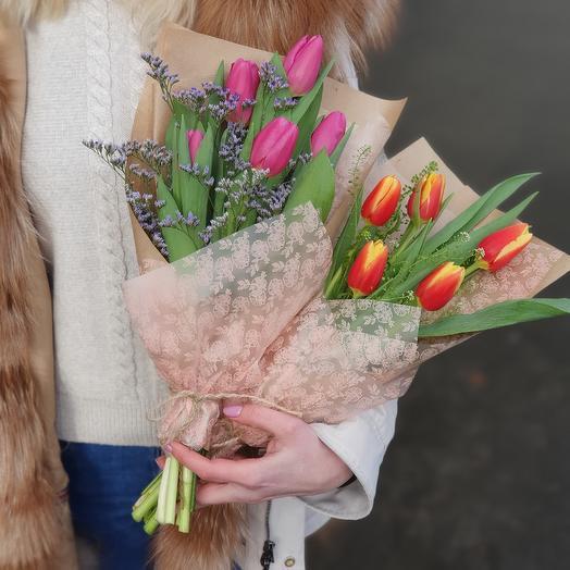 Букетики для коллег из тюльпанов: букеты цветов на заказ Flowwow