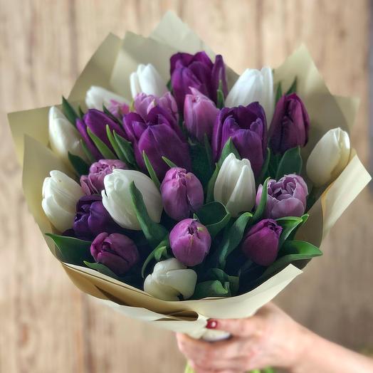 Сиреневый микс (25 тюльпанов): букеты цветов на заказ Flowwow