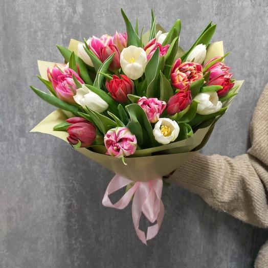 Букет из пионовидных тюльпанов (микс)