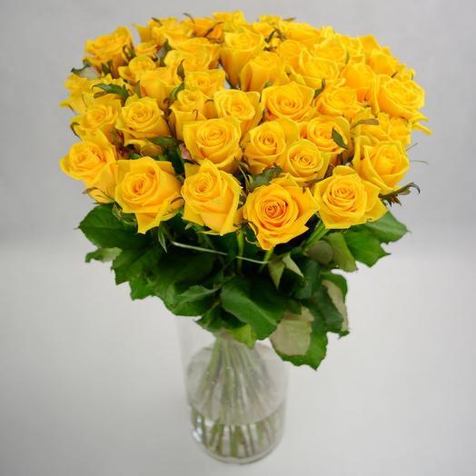 Акция! 51 желтая роза (точно свежая)
