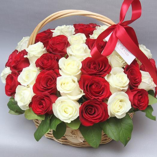 49 эквадорских роз в корзине: букеты цветов на заказ Flowwow