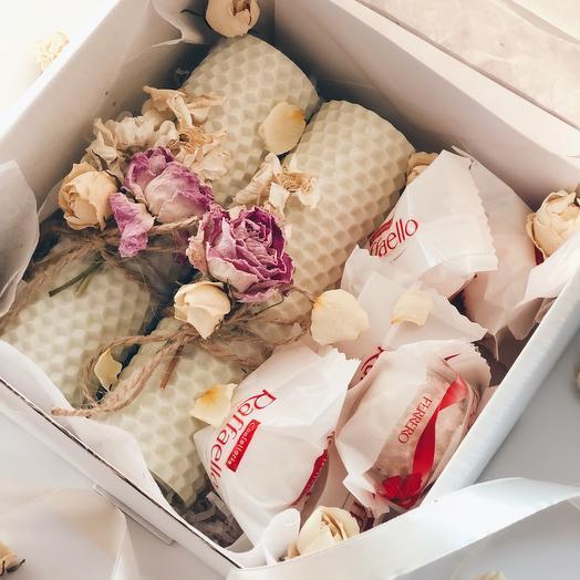 Бокс медовые свечи + конфеты