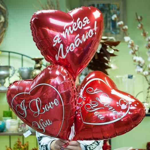 Фольгированные воздушные шары-сердечки