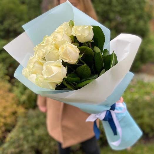 Букет белых роз (21шт)