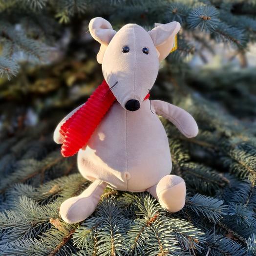 Мышь с красным шарфом 35 см
