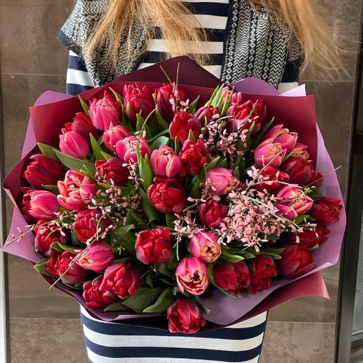 Пионовидные красные Тюльпаны 45 шт