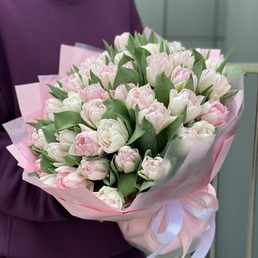 A Foxtrot bouquet of 51 peony-shaped tulips