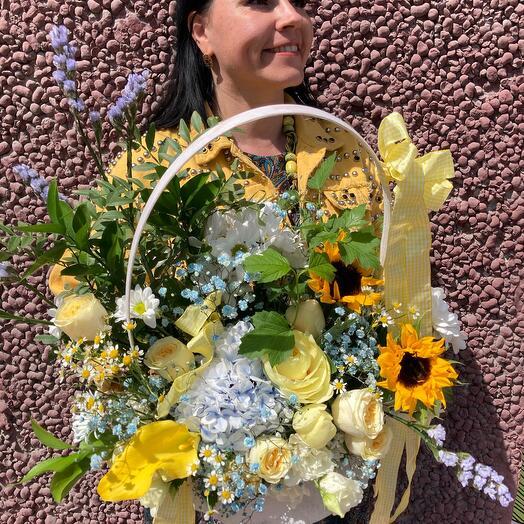 Summer large basket with peonies, hydrangeas, daisies , sunflowers