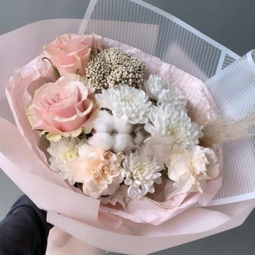 Букет Хризантем, Роз и Гвоздики