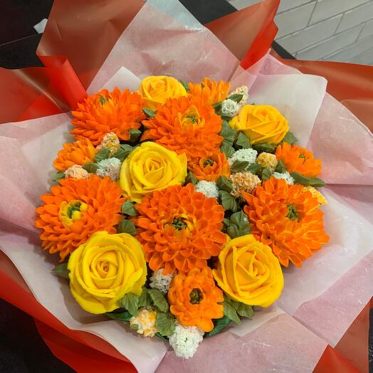 BOUQUET IN ORANGE-YELLOW TONES OF 15 FLOWER CUPCAKES