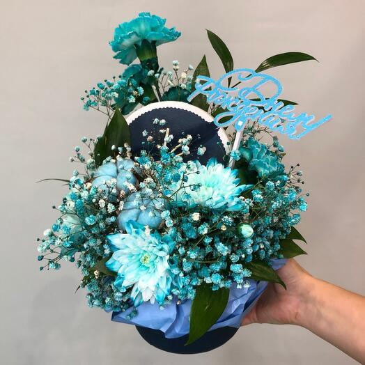 Цветы в коробке «Голубая Лагуна»
