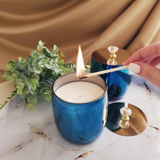 Аромасвеча в синем стакане